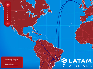 LATAM Airlines Route Map