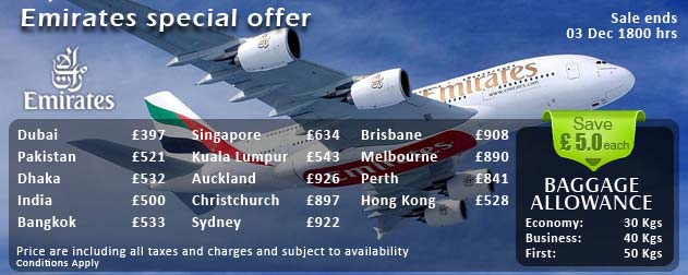 Flight Deals from Emirates at Carlton Leisure